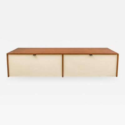 Florence Knoll Florence Knoll Walnut Wall Mounted Drop Front Cabinet for Knoll USA 1950s