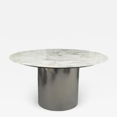 Florence Knoll Knoll Arabescato Marble Top Knife Edge Dining Table on Chrome Drum Base