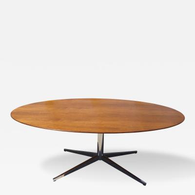 Florence Knoll Large Walnut Chrome Oval Table by Florence Knoll for Knoll