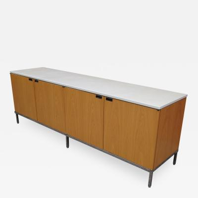 Florence Knoll Oak Credenza with Marble Top by Florence Knoll for Knoll