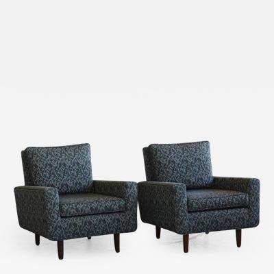 Florence Knoll Pair of Early Florence Knoll Lounge Chairs from 1967 Reupholstered in the 1990s