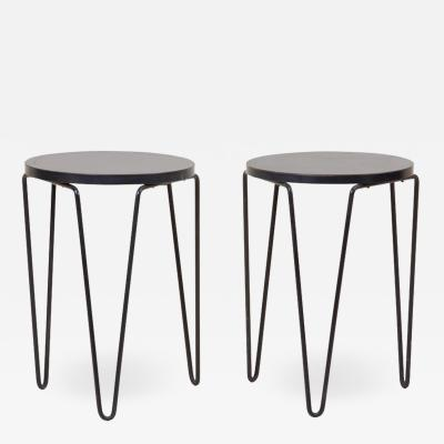 Florence Knoll Pair of Early Original Vintage Hairpin Stacking Stools or Side Tables by Knoll