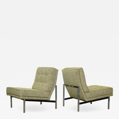 Florence Knoll Pair of Parallel Bar Lounge Chairs by Florence Knoll