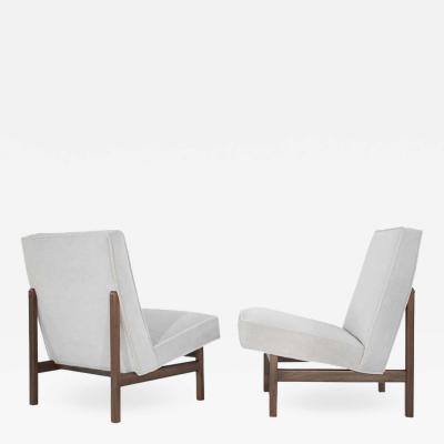 Florence Knoll Pair of Slipper Chairs in Alpaca Velvet by Florence Knoll
