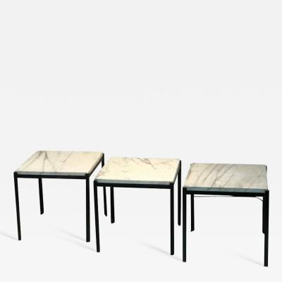Florence Knoll Set of Nesting Tables with Marble Tops in the Manner of Florence Knoll