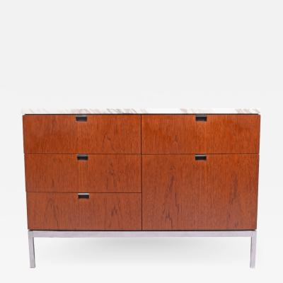 Florence Knoll Teak and Marble Florence Knoll Executive Small Chest for Knoll