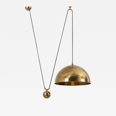 Florian Schulz Pendant Lamp Posa with Side Pull in Brass by Florian Schulz Germany 1970s