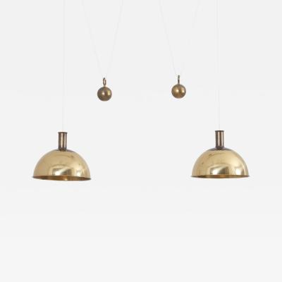 Florian Schulz Rare Early Florian Schulz Double Posa Counterweight Pendant Lamp in Solid Brass