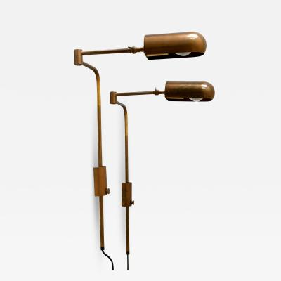 Florian Schulz Set of Two Articulated Wall Lamps or Reading Lights by Florian Schulz 1980s