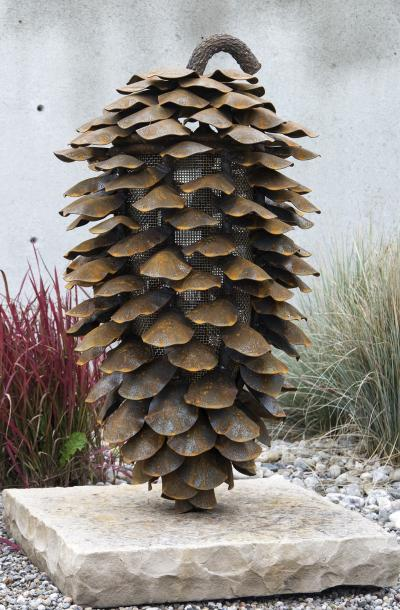 Floyd Elzinga Vertical Fire Cone With Stone Base