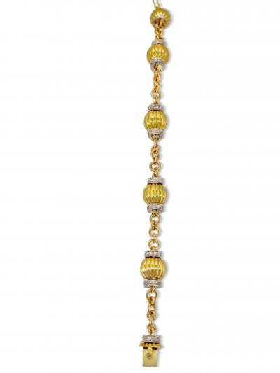 Fluted Bead and Diamond Bracelet