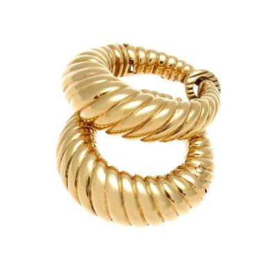Fluted Gold Hoop Earrings