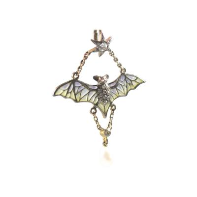 Flying Bat Georg Kleeman Pendant Plique A Jour Sterling Silver
