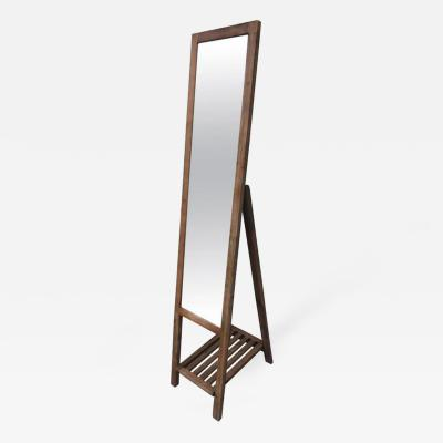 Foldable Standing Mirror in Oak with Slatted Shelf