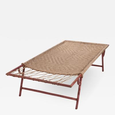 Folding Painted Metal Garden Lounge Daybed with Original Woven Hemp