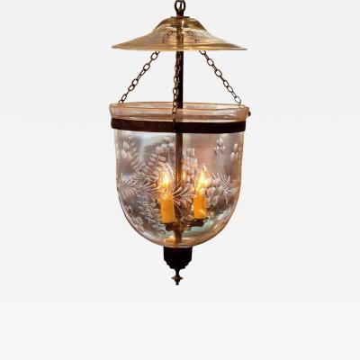 Foliate Etched Bell Jar Lantern Circa 1850 England