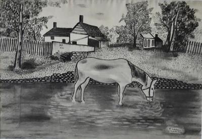 Folk Art Charcoal Drawing Dated 1922