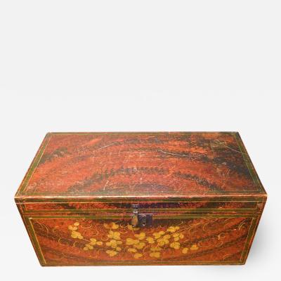 Folk Art Decorated Large Document Box Antique New England Americana