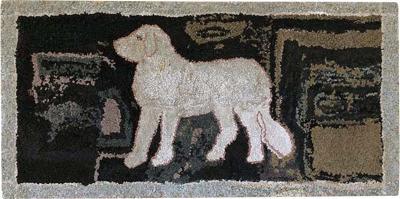 Folk Art Dog Hooked Rug