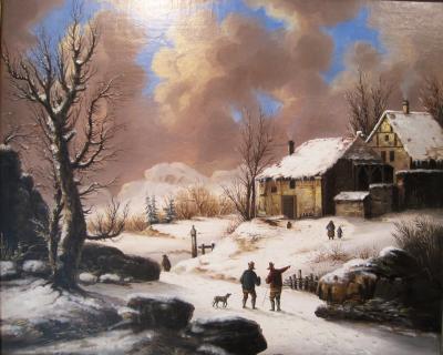 Folk Art Painting of a Winter Scene