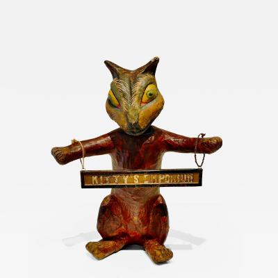 Folk Art Paper Mache Bobble Head Cat Advertisement Kittys Emporium