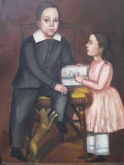 Folk Art Portrait of Children and Dog