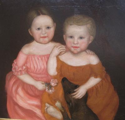 Folk Art Portrait of Two Children w Dog