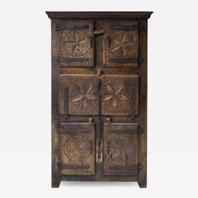 Folk art 19th century travail dart populaire cabinet from Bretagne France