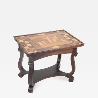 Folk art table with 48 star American flag with geometric shapes