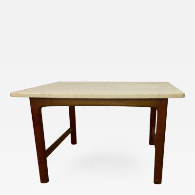 Folke Ohlsson DUX Teak and Travertine Marble Lamp Table by Folke Ohlsson
