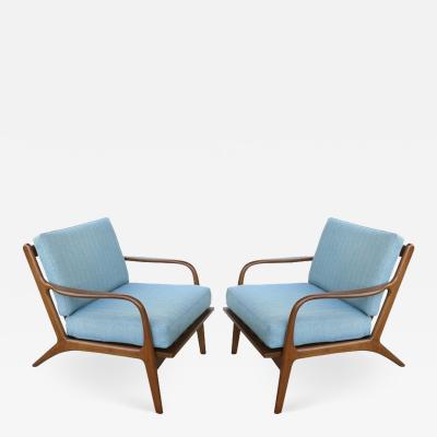 Folke Ohlsson Folke Ohlsson Danish Modern Walnut Lounge Chairs