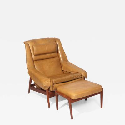 Folke Ohlsson Folke Ohlsson Lounge Chair and Ottoman In Leather
