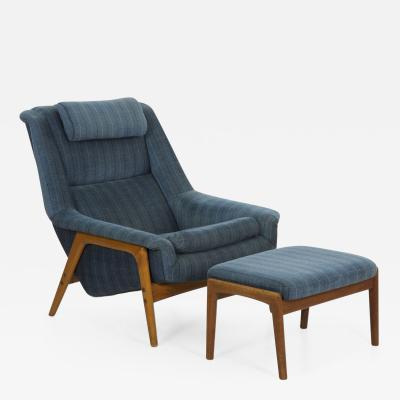 Folke Ohlsson Mid Century Lounge Chair with Adjustable Ottoman by Folke Ohlsson