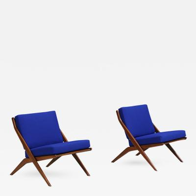 Folke Ohlsson Mid Century Modern Scissor Lounge Chairs by Folke Olhsson for Dux