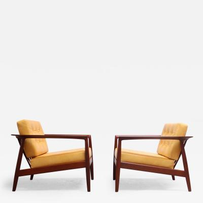Folke Olhsson Swedish Modern Leather and Teak Lounge Chairs by Folke Ohlsson for Dux