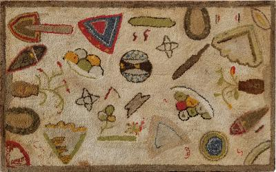 Folky hooked rug with floating elements