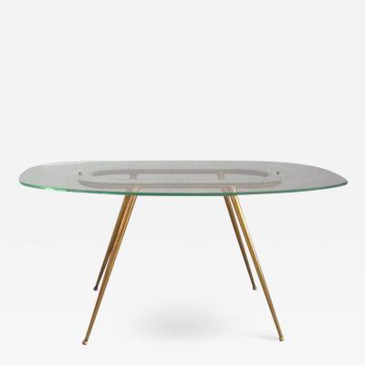 Fontana Arte 1950s Glass and Brass Coffee Table Fontana Arte Style