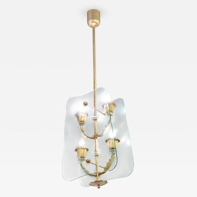 Fontana Arte 4 Light Pendant Chandelier attributed to Pietra Chiesa