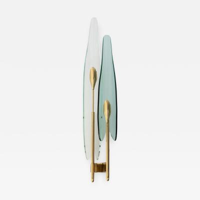 Fontana Arte 4 Wall Lights with Transparent and Green Bent Cut Glasses