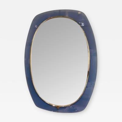 Fontana Arte A Blue Glass Framed Wall Mirror in the style of Fontana Arte