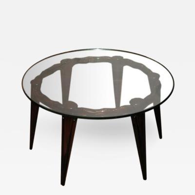 Fontana Arte A Round Cocktail Table in Mahogany and Glass by Fontana Arte