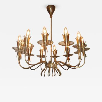 Fontana Arte A Twelve Light Brass and Crystal Chandelier by Fontana Arte