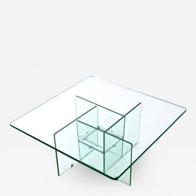 Fontana Arte Aquamarine Squared Glass Coffee Table in Style of Fontana Arte Italy 1970s