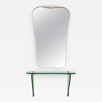 Fontana Arte Beautiful Console Table with Wall Mirror by Fontana Arte Italy 1930s 1940s