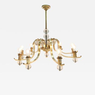 Fontana Arte Brass Glass Chandelier