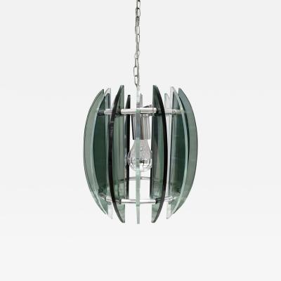 Fontana Arte Chandelier In Chrome And Glass In The Style of Fontana Arte 1970s