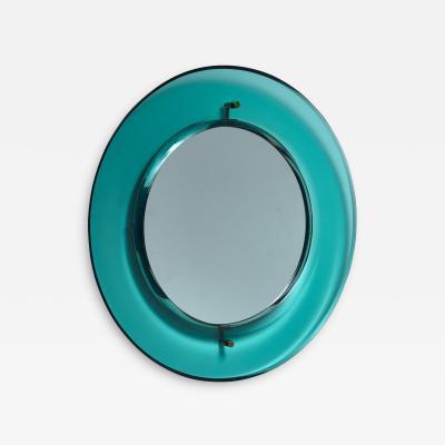 Fontana Arte Early Luigi Fontana for Fontanit glass mirror in green blue Italy 1950s