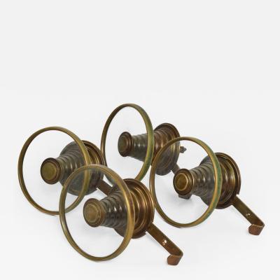 Fontana Arte Fancy Style of Fontana Arte Four Coat Racks Circled Brass and Glass 1950s ITALY