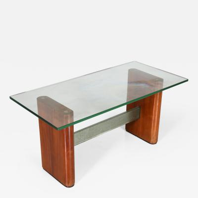 Fontana Arte Fontana Arte Attributed MidCentury coffee table in glass and wood 1950s