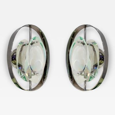 Fontana Arte Fontana Arte Attributed Pair of Glass Sconces 1950s